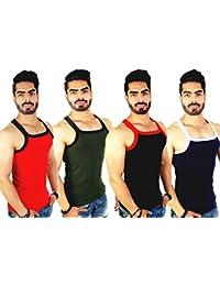 ZIMFIT Men's Cotton Vest Pack of 4 (111) - (Red_Brown_Royal_Black)