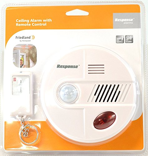 Friedland 360° PIR Motion Detecting Security Ceiling 112dB Siren Alarm with Remote Control – Wireless Chime or Alert Mode
