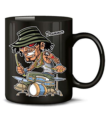Golebros Musik Schlagzeug Drummer 1041 Geburtstag Geschenk Fun Tasse Becher Kaffeetasse Kaffeebecher Schwarz