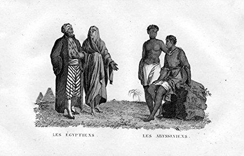 Les Egyptiens Les Abyssiniens - Egypt Ägypten Abessinien Abyssinia Tracht Trachten costumes Kupferstich ()