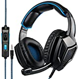 Sa920 Plus Stereo Gaming Headset con MICRš®Fono de 3,5 mm en la Oreja los Auriculares para PC/Mac / PS4 (Negro - Azul)