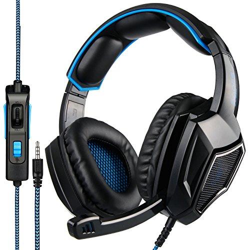 SADES SA920 Gaming Kopfhörer Pro Surround Sound Stereo-PC-Spiel-Kopfhörer-Gaming headset mit Mikrofon für PS4 Xbox one PC Mac iPhone Smartphone (blau) (Sades Gaming Headset Xbox 360)