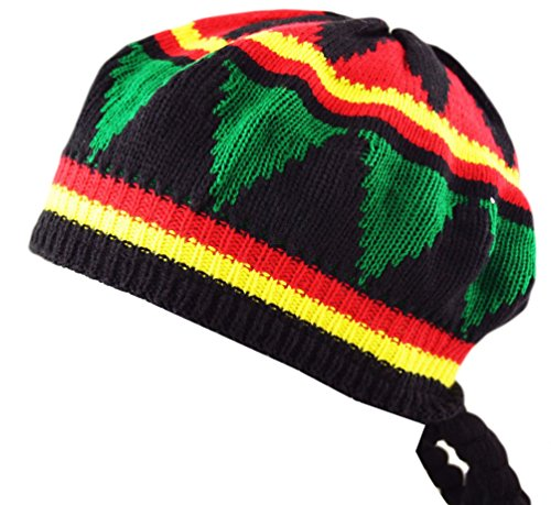 Itzu Fancy Dress Adults Unisex Rastafarian Jamaican Rasta Tam Beanie Hat & Dreadlocks Hair (Hat Herren Tams)