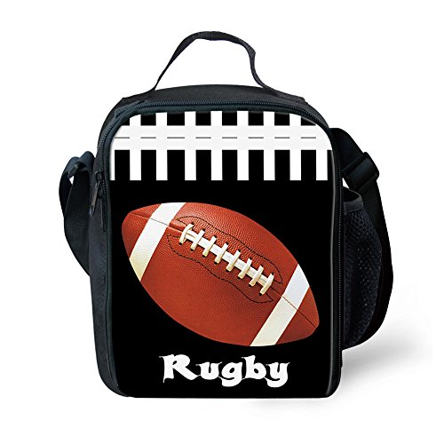 Showudesigns Lunch-Tasche, personalisierter Druck, für Kinder, isolierte Thermo-Lunchbox, Polyester, fußball, S