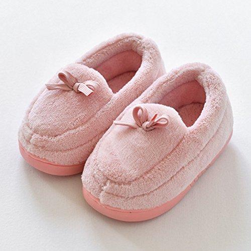 (WXMTXLM Winter Baumwollslipper Frauen plus samt warme eine Familie von drei Taschen mit Herren Baumwollschuhe Haus Paar Mond dicke Baumwollslipper, 18/19 (Sohlenlänge 18CM), Kinder rosa)