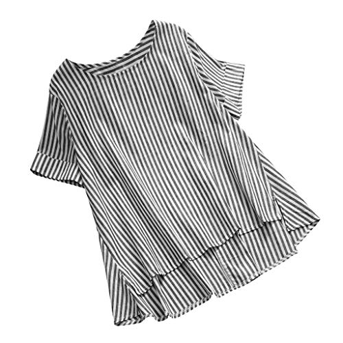 Plus Größe Vertikal Streifen Lose Leinen Knopf Tunika Hemd Bluse ()