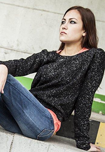 Ladies Knitted Splatter Crewneck black XL