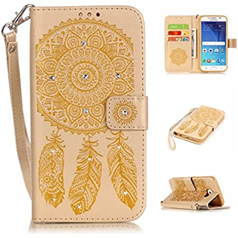 S6 Custodia, Galaxy S6, S6 G920 Portafoglio in pelle, M. JVisun strass Dream Catcher in pelle + morbida in silicone con tracolla di tasca custodia Flip Case per Samsung Galaxy S6 G920, oro, For Samsung Galaxy S6 G920