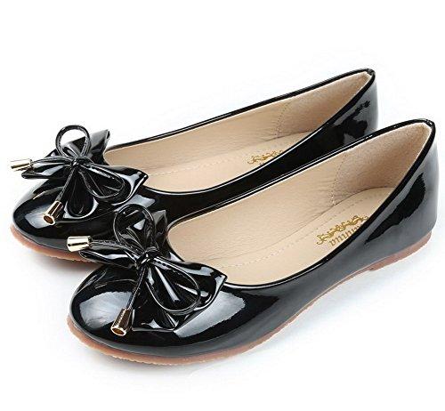 AalarDom Damen Ohne Absatz Ziehen Auf Pu Leder Weiches Material Flache Schuhe mit Schleife Schwarz