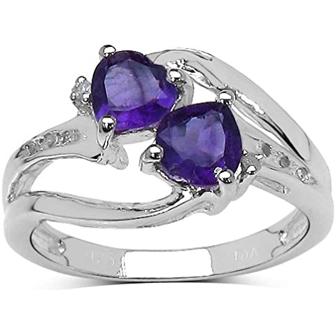 La Colección Anillo Amatistas: Anillo de compromiso de Amatista con corazón y set Diamantes de Plata Ley, Perfecto para Regalo Aniversario,Talla del anillo,