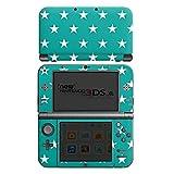 Nintendo New 3DS XL Case Skin Sticker aus Vinyl-Folie Aufkleber Polka Sterne Türkis Muster