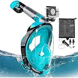 Eastshining Masque de Plongée Masque Snorkeling Plein Visage 180° Visible Anti-buée Anti-Fuite Set de Plongée avec La Support pour Caméra GoPro de Sport Adapté pour Adultes et Enfants (Vert, L/XL)