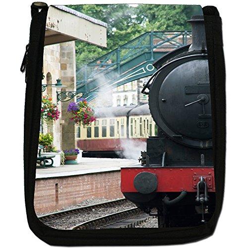 Treni a vapore-Borsa a tracolla in tela, colore: nero, taglia: M Nero (Steam Train Pulling Up)