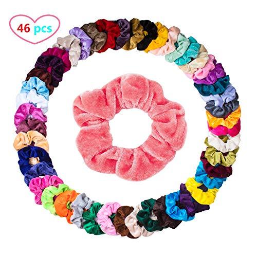 Haargummis Samt Scrunchies Haar Gummibänder Haarbänder Elastischer Bunte Haarschmuck Haarseil für Mädchen Damen Frauen Pferdeschwanz, 46 Stück Haar Scrunchies