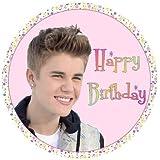 """Justin Bieber Happy Birthday RUND 7.5"""" Kuchen Figur essbare zucker zuckerguss"""