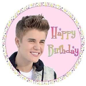"""Justin Bieber Joyeux Anniversaire ROND 7.5"""" Gâteau Figurine comestible sucre glaçage"""
