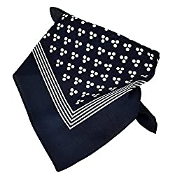 Navy Blue With White 3-Dot & Stripes Bandana Neckerchief by Ties Planet