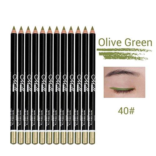 Pro 12pcs Set Eyeliner Makeup Waterproof Eye Lip Liner Matita Scegli - Olive Green 40#