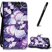 iPhone 5/5s/SE Case, iPhone 5/5s/SE Leather Case Wallet, Slynmax 3D Printing Violet Butterfly Design Flip Folio PU Leather Wallet Case Inner Soft TPU Cover with Stand Function Hand Strap Card Holders Magnetic Closure Book Style Shock Resistant Protective