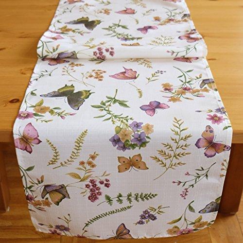Kamaca Serie Schmetterlinge AUF DER BLUMENWIESE in Creme mit zarten Pastelltönen EIN Schmuckstück in jedem Raum (Tischläufer 40x140 cm)
