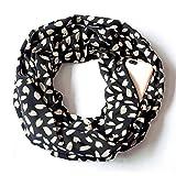 JUSTSELL_Schal Damen Frauen Herz-Druck Leopard-Druck Schals mit Reißverschlusstasche Loopschal Temperament Kostüm Zubehör Warm Schals für Herbstschal Winterschal