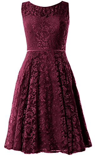 MACloth Women Lace Cocktail Dress Vintage Knee Length Wedding Party Formal Gown Weinrot