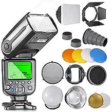 Neewer - nw565ex E-TTL Kit para Canon cámaras, incluye: (1) NW-565C Flash, accesorios Kit Barndoor, Snoot, Panal, reflector, pelota de difusor, gel de color de luz, pantalla plana adaptador.