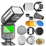 Neewer NW565EX E-TTL Flash Esclave Kit pour Canon, comprend (1)Flash TTL+Kit d'Accessoires avec Coupe-flux, Snoot, Nid d'Abeille, Réflecteur, Diffuseur, Gel Couleur, Softbox...