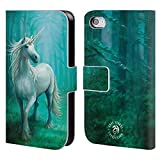 Head Case Designs Offizielle Anne Stokes Wald Einhorn Fabelwesen Brieftasche Handyhülle aus Leder für Apple iPhone 4 / 4S
