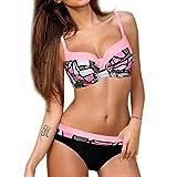 OverDose Damen Padded Push-up-BH Gemusterte Schlinge Bikini Set Badeanzug Badeanzug Bademode Beachwear Badeanzüge(Rosa,M)