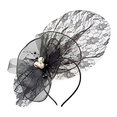 Damen Fascinator Haarclip Stirnband Spitze Schleier Hochzeit Headwear Braut Kopfschmuck (Lincoln Hat Schwarzer)