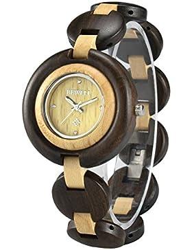 Bewell 010A Elegante Damenarmbanduhr aus schwarzem Sandelholz und Ahornholz mit leuchtenden Zeigern und kleinem...