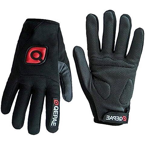 qepae® antideslizante Gel Pad Guantes de Hombre Mujer Ropa Ciclismo Equitación Corto Medio Dedo y guantes de dedo completo transpirable, color negro, tamaño