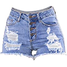 Damen Hosen Sommer Elegant LHWY Frauen Schlank Gewaschen Zerrissene Loch Kurze  Mini Jeans Denim Hosen Shorts d15e471ae0