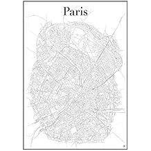 Paris Poster - Stadtplan Plakat Staßennetz (60 cm x 84 cm) Kunstdruck