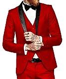 P.L.X Hochzeitsanzuege Fuer Herren Slim Fit Smoking 3-Teilig Herrenanzug Glanzanzug Sakko mit Hose
