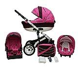 Lux4Kids Star Q Kinderwagen Komplettset (Autositz & Adapter, Regenschutz, Moskitonetz, Schwenkräder) 05 Berry & Bordeaux Leinen