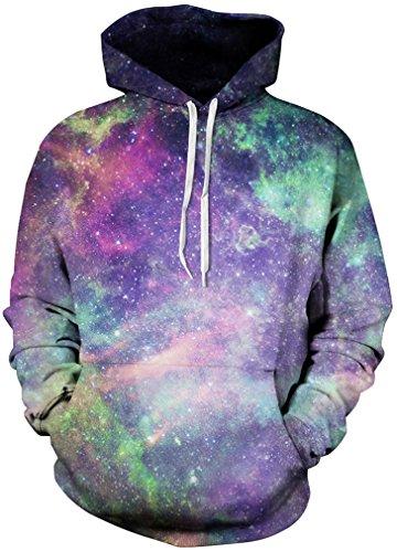 TDOLAH 3D Unisexe Sweatshirts Galaxy Cordon Imprimé Poches Noël Sweater capuche Hoodie Plus Velours Galaxy Violet 115-1