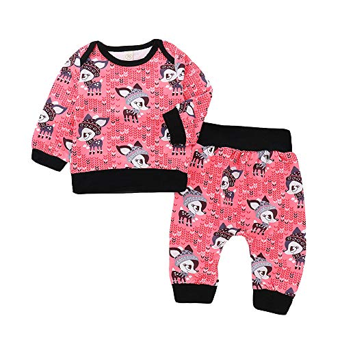 6c2f4c5d6dbdb1 ZODOF Lindo Conjunto para niños 2PC Niño Bebés Bebés Pequeño Fox Print Top  Sleeve Top Pantalones