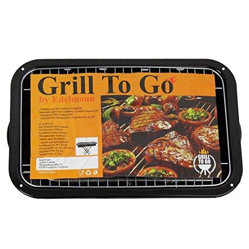 Grill To Go Holzkohlegrill inkl. Grillfächer Grillzange & Grill-spieße