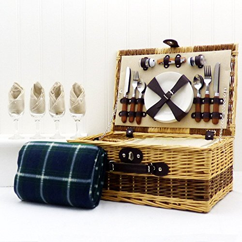 buxton-4-persone-di-vimini-da-picnic-cesto-con-la-tradizionale-coperta-impermeabile-verde