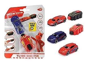 Dickie Toys 203341021 Turbo Shooter - Coche teledirigido con Lanzador, Coche de Juguete, Regalo para niños a Partir de 3 años, Juego de 4