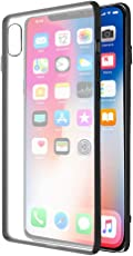 Amazon Brand - Solimo iPhone X Mobile Cover (Hard Back & Black Flexible Bumper), Transparent