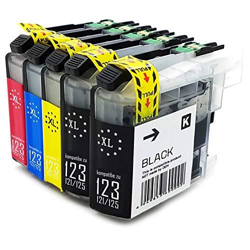 5XL Office Channel24 Druckerpatronen mit Neusten Chip kompatibel zu Brother LC123 LC125 LC121 für Brother DCP-J552DW MFC-J470DW J650DW J870DW J132W J152W J172W J752DW J4110DW J245 J4410DW J4510DW J4610DW J4710DW J6520DW J6720DW J6920DW