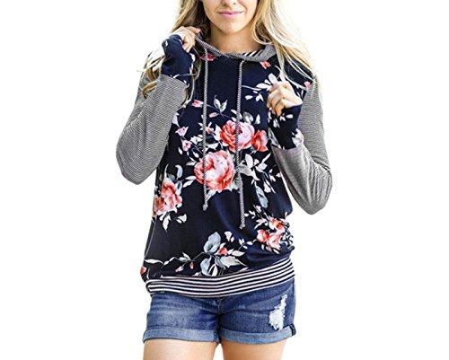LSAltd Damen Weinlese Blumen gestreifte Hoodie Oberseiten lose langes Hülsen Hemd Blusen Sweatshirt (Blau, L)