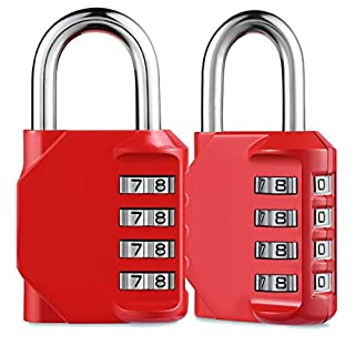 AIZESI 2PCS Combination Padlock,4 Digit Combination Lock Outdoor for School Gym lockers,Zinc Alloy(RED-2PCS)