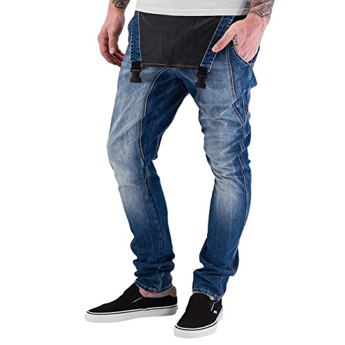 Sixth June Herren Jeans / Straight Fit Jeans Bib Blau
