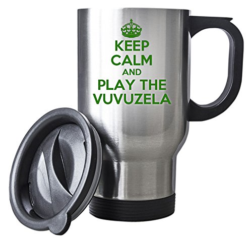Duke Gifts Grün Keep Calm and Play die Vuvuzela Silber Reise Tasse