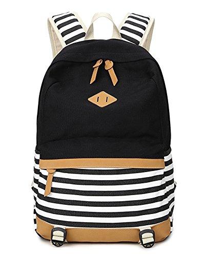 5-ALL-Fashion-Mdchen-Schulrucksack-Damen-Canvas-Rucksack-Teenager-Baumwollstoff-Streifen-Schultasche-Daypacks-fr-Universitt-Outdoor-Freizeit-QXT-8810-Schwarz