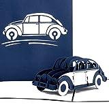 Pop Up Karte'VW Käfer' in Blau - 3D Geburtstagskarte, Glückwunschkarte & Karte zum Führerschein - mit filigranem 3D Auto Modell als Geschenk, Geschenkverpackung und Reisegutschein